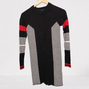 2/$20 - Forever 21 Black, White and Red Striped and Colourblocked Sweater Dress